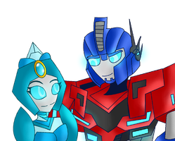 Optimus prime x Diana prime by Feline-girl-2000