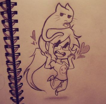 Chibi Christina and Kitten / WIP # 15 by ChristinaDoodles