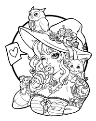 witches pet lineart by Harpyqueen