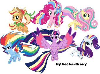 Rainbow Powered Main six by Vector-Brony
