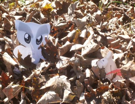 Playing in the Leaves by kiddomerriweather
