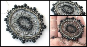 blue goldstone madallion by annie-jewelry