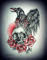 RAVEN and SKULL tattoo design by MWeiss-Art