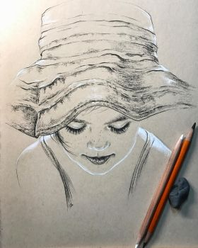 Girl in Sun Hat by leversandpulleys