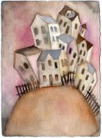 house on hill-watercolor by usartdude