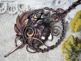 Copper brooch Thistle with handmade lampwork bead by Egarimea