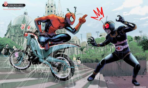 Spiderman vs kamen ride black by kikomauriz