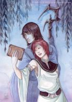 Watercolors : Tania and senno by Vyrhelle-VyrL