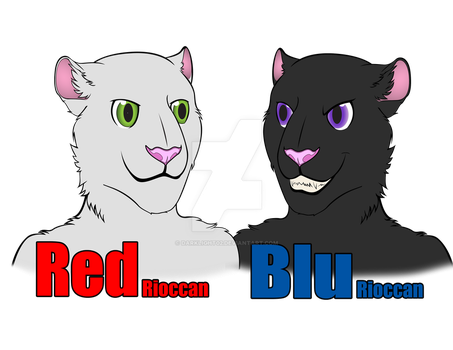 Red Rioccan and Blue Rioccan [Com] by DarkLight02