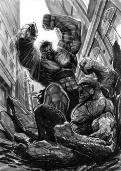 hulk vs thing by nebezial