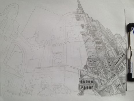 Minas Tirith in progress  by kovbojfozelek