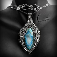 IZNGRELL, Silver and Druzy Agate. by LUNARIEEN