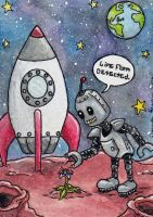 Life on Mars? Space Robot ATC Grumbacher Trade #49 by emmadreamstar