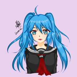 A girl with blue hair by SalmaDZ