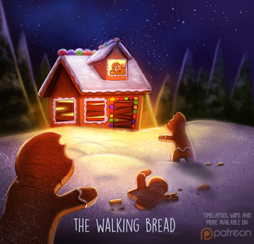 Daily Paint 1434. The Walking Bread by Cryptid-Creations