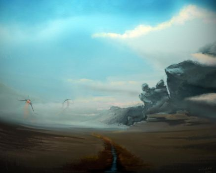 landscape with spaceships by pilot69