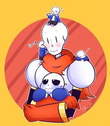 papyrus with sans chibis by xXMimykoXx