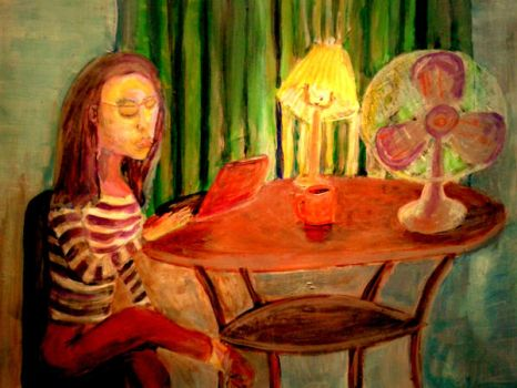 Girl at the Table by CheBertrand