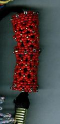Large Red Beaded Bead by Refiner