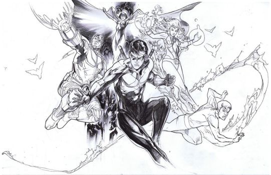 Teen titans inks by Peter-v-Nguyen