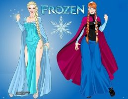 Frozen: Queen Elsa and Princess Anna of Arendelle by LadyRaw90