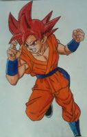 Goku super saiyan God by Demy by Demy111