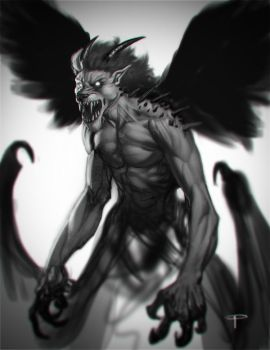 Pazuzu Sketch Head by angel5art