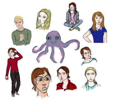 Some folks and an octopus by Iwrin