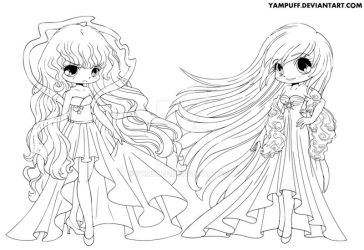 Day and Night Lineart by YamPuff