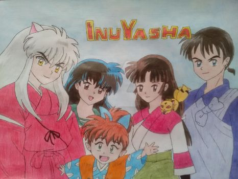 Inuyasha and his friends by official-maria-art