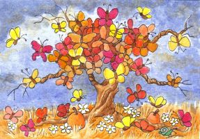ATC Butterfly Tree, Fall by waughtercolors
