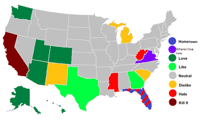 My most and least favorite states. by HiruHikari13