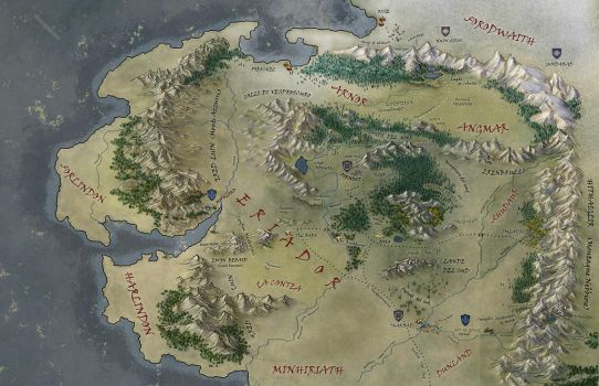 Middle Earth Map by Ladyoftheflower