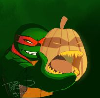 Raphael and a pumpkin by ralloonx