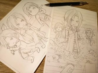 Process: Some funny/cute Chibi sketches by Hallowie29