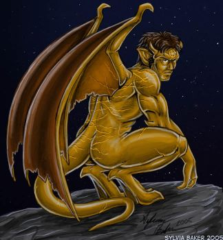 Marcus as a Gargoyle Colored by SilverKitty000