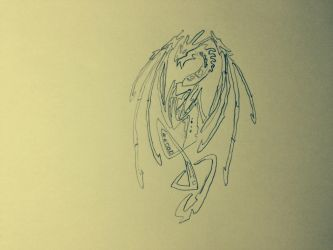 Tribal dragon drawing (filter 2) by MasterWolf99