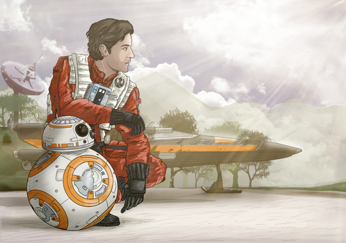 Poe Dameron and BB-8 on D'Qar by Sketchy-raptor