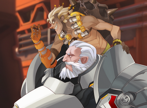 Reinhardt and Junkrat by DemonicSerpent101