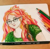 Sketching girl with colored hair by FeanorFeuergeist