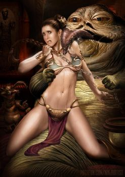 Leia and Jabba by NinjArt1st