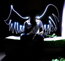 Light trail~ Me with a scabbed wings by ZuKhaiRy