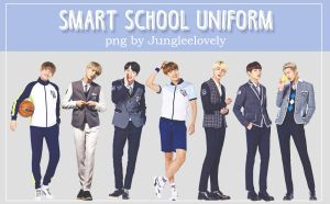 BTS Smart School Uniform PNG pack by JUNGLEELOVELY by Jungleelovely