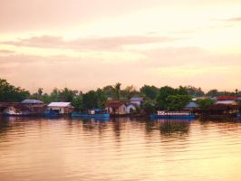 Kapuas River, Borneo at Sunset by Geotjakra