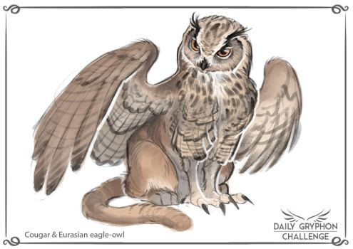 Gryphon Challenge 20 : Euras. eagle-owl and Cougar by Pechschwinge