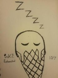 Inktober Day 7: Exhausted  by DreadLockedCipher