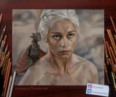 Portrait of Daenerys Targaryen . by Lizapoly