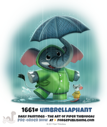 Daily Painting 1661# - Umbrellaphant by Cryptid-Creations