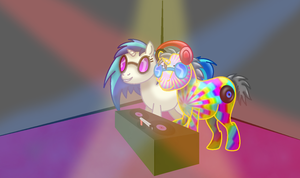 How I draw Ponies: DJ PON-3 and N3ON (download) by horse14t