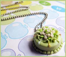 Green Cake Necklace by cherryboop